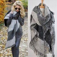 Women Large Cape Scarf Scarves Thick Tartan Wrap Plaid Wool Pashmina Shawl Warm
