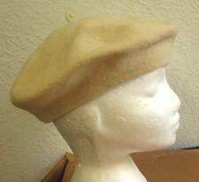 VTG OFF-WHITE WOOL BERET women's tomato cap 1960s retracting hat w/ stem