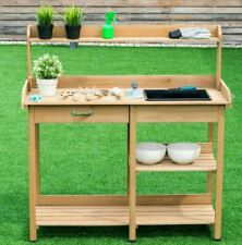 Outdoor Garden Work Station Desk Wooden Cabinet Table Potting Bench Organizer