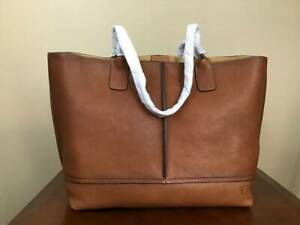 Frye Lucy Large Full Grain Italian Leather Tote Shoulder Bag Cognac Brown Brass