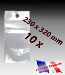 LOT 10  sachets pochette plastique zip 230x320 23x32 alimentaire 50 microns   f