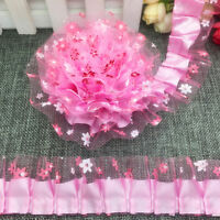 New 5 yards 2-Layer 40mm Pink Organza Lace Gathered Pleated Sequined Trim UK-9