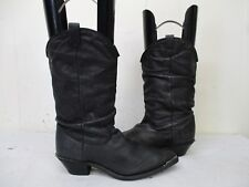 DINGO Black Leather Slouch Cowboy Boots Womens Size 6. M. Style 17310
