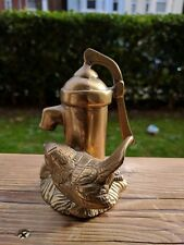 Solid Brass/Bronze Bird Drinking from Vintage Garden Water Pump Figurine