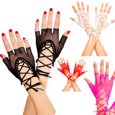 Sexy Fishnet Lace Up Corset Wrist Gloves Fingerless Tie Up Gothic Punk Costume