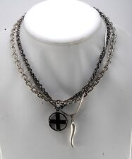 GUESS DESIGNER 2 CHARM HORN & CROSS PENDANT ON 3 TONE TRIPLE CHAIN NECKLACE NWT