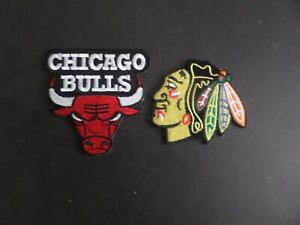"LOT OF 2-CHICAGO BULLS & CHICAGO BLACKHAWKS"" Embroidered  Iron On Patches"