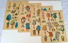 RARE -- Antique VINTAGE 1880-1920 FRENCH Paper Dolls 4 Uncut Sheets COMPLETE SET