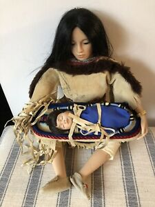 Vintage Native American Doll Porcelain Hands/Feet Leather Dress Baby in Papoose