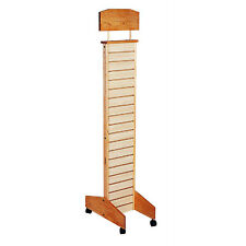 Conde Rack Store Display Slatwall Tower with Casters • Maple