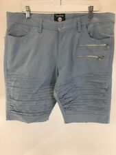 BOOHOO MAN MEN'S SKINNY FIT BIKER SHORTS LIGHT BLUE SIZE 36 NWT