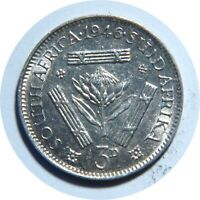 SOUTH AFRICA 3 PENCE 1946 SILVER COIN HIGH GRADE C20