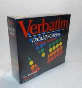 """NEW Verbatim DataLife Colors MD2 D 5 1/4"""" Diskettes Double Sided Double Density"""