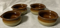 4 Acopa Vintage Tri-Tone Brown Small Stoneware Pottery  Bowl