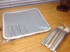 SMASHBOX WHITE SET OF 6 BRUSHES +WHITE LEATHER FAUX ROLL HOLDS 6 BRUSHES!