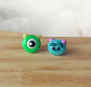 Handmade Polymer Clay Tsum Tsum Disney Sulley Mike Stud Earrings Surgical Steel