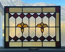 "Vintage Stained Glass Window Home & Garden Décor (23"" x 17.5"") 10lbs Very Nice!"