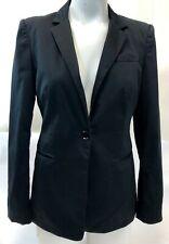 Womens Express Design Studio Simple Black Single Button Blazer Suit Jacket Sz 8