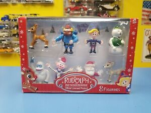 """BEVERLY HILLS TEDDY BEAR  CO. RUDOLPH RED NOSED REINDEER 8 FIGURINES  """"NEW"""""""