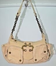 Francesco Biacia Soft Leather Light Tan Buckle Chain Strap Bag Purse Satchel