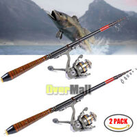 2xProfessional Carbon Fiber Telescope Fishing Rod Travel Sea Spinning Pole 2.1m