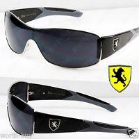 New Khan Mens Sports Shield Sunglasses Wrap Metal Designer Black Gray Wrap Retro