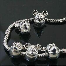 6pcs Tibetan Silver Mickey Mouse Beads Fit European charm  Bracelet  L0136
