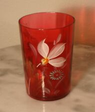 Victorian Antique Art Glass Ruby Enamel Floral Tumbler