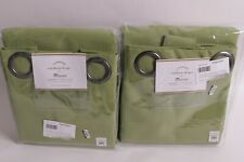 set/2 NWT Pottery Barn Sunbrella solid grommet outdoor drape 50x84 peridot green