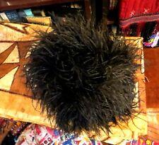 Rare Outrageous Antique Victorian Ostrich Feather Muff w/Zippered Purse Inside