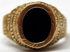 Vintage 8K Solid Yellow Gold and Onyx Cuneiform Script Style Ring Size 8.5