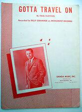 BILLY GRAMMER Sheet Music GOTTA TRAVEL ON Keys Hansen COUNTRY Pop VOCAL lc