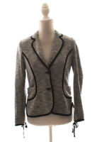 Womens Anthropologie Cartonnier Gray Knit Navy Piped Blazer Jacket Size S Small