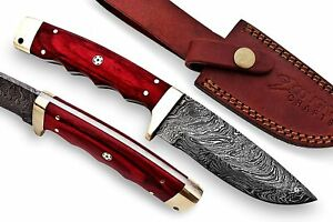 Damascus Steel Handmade Hunting Fixed Blade Hand Forged Knife with Brass Bolster