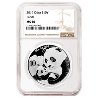 2019 10 Yuan Silver China Panda NGC MS70 Brown Label