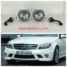 MBZ MERCEDES BENZ 2008-11 W204 C63 CLEAR FOG LIGHTS LAMPS W/ BULBS WIRES PAIR