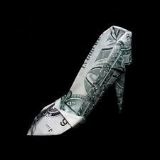 Origami Dollar Womens HIGH HEEL Home Decor Shoe 3D Money Charm Gift Real $1 Bill