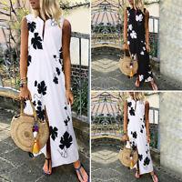 Womens Summer Kaftan Floral Dresses Sundress Casual Retro V Neck Long Maxi Dress