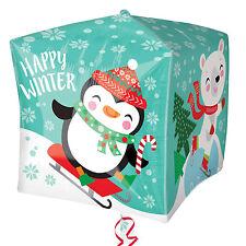 Ours Polaire & Pingouin Noël Ballon - Forme de Cube Ballon Décoration pour Fête