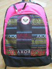 NEW ROXY BACKPACK BOOK SCHOOL STUDENT Laptop Tablet Pouch BAG Black Hot Pink