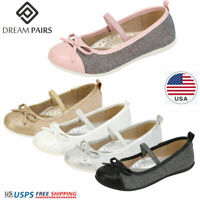 DREAM PAIRS Girls Flat Shoes Kids Princess Shoes Bow Knot  Wedding Dress Shoes