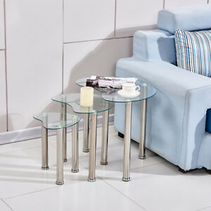 Nest of 3 Side Table End Table Glass Metal Legs Nesting Tables Living Room Heart