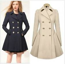 Ladies Double Breasted Trench Coat Jacket Fit and Flare Beige Navy SIZE S-XXL