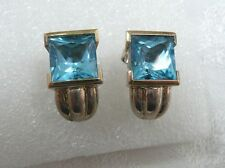 Blue Topaz Earrings 14K Yellow Gold & Sterling Silver Signed 5.5 TCW 11.5 Grams