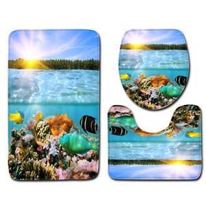 3PC Tropical Fish Coral Carpet Bathroom Non-Slip Floor Rug Toilet Cover Bath Mat