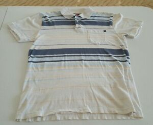 Quick Silver Retro Polo Shirt White and Blue Size Small