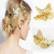 Womens Golden Hollow Butterfly Barrette Hair Cuff Clip Hairpin Jewelry For Left