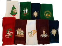 Lot 9 Vtg Christmas Guest Hand Towels Tree Candle Star Train Bell Red Green Navy