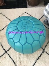 Moroccan Handcrafted 100% Leather Pouffe / Footstool / Ottoman / Turquoise