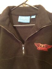 AEROSMITH FLEECE PULLOVER, BLACK WITH RED LOGO, LARGE L, COLLAR, GREAT CONDITION